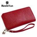Kevin yun marca de designer de moda couro mulheres carteiras longo senhora carteira de embreagem bolsa com zíper
