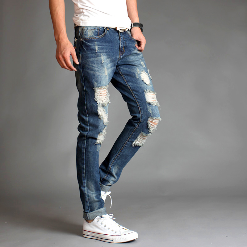 2016 autumn and winter hot-selling punk style male personality hole whisker slim fit ripped denim trousers pants MB16299
