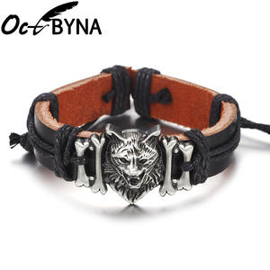 Octbyna New Product Punk Wolf Head Ornament Genuine Leather Bracelets For Men Cuff Bangle