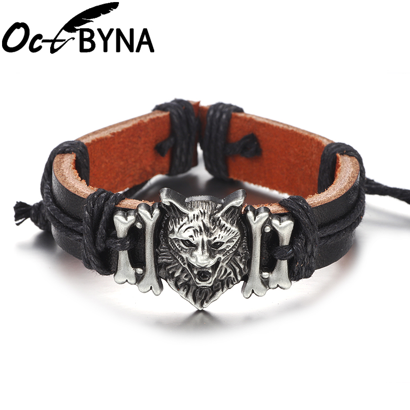 Octbyna New Product Punk Wolf Head Ornament Genuine Leather Bracelets For Men Cuff Bangle Wristband Jewelry Gifts Dropshipping