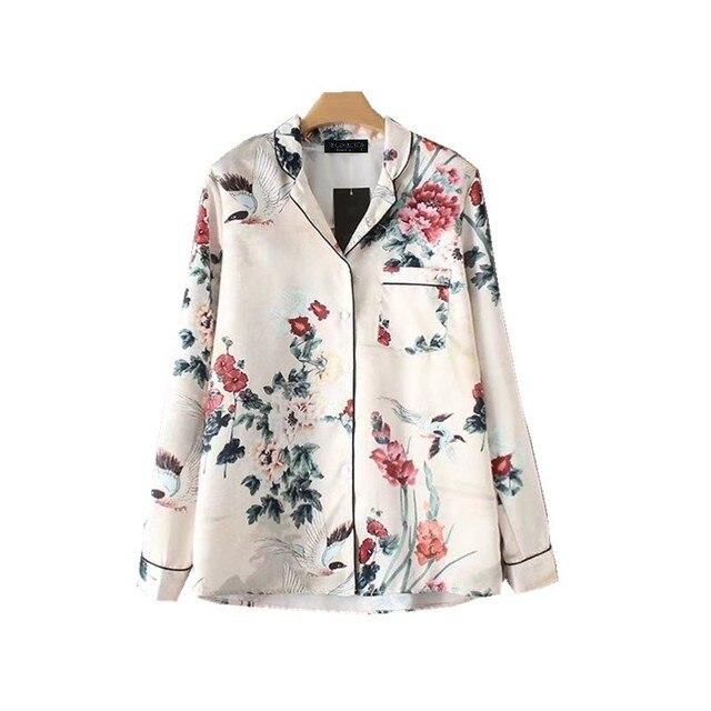 58b09acd95 Women Satin Blouse Floral Bird Print Pajamas Style Shirt Long Sleeve  Turn-down Collar Top