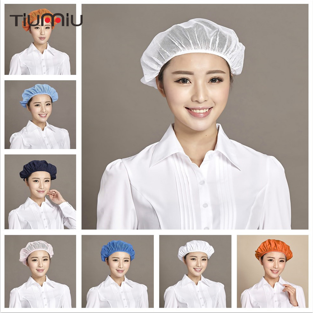 Unisex Catering Meal Cap Workshop Dust Cap Protective Breathable Kitchen Mesh Chef Hat Adjustable Size Men Women Work Wear Hats