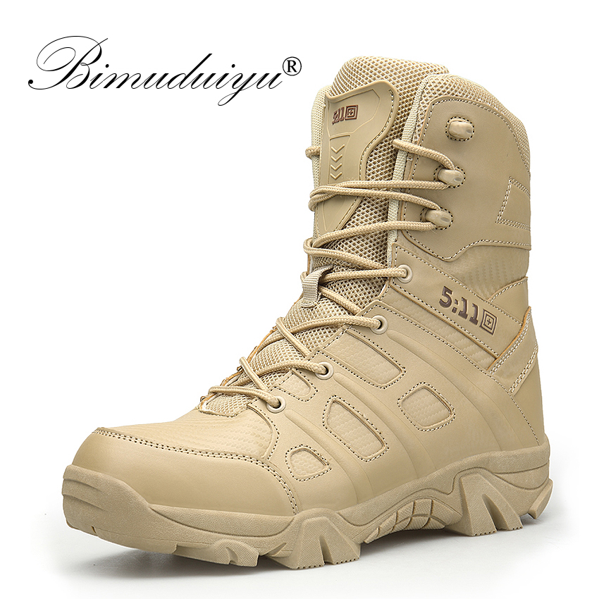 BIMUDUIYU Winter Autumn Men Military Boots Special Force Tactical Desert Combat Ankle Boats Army Work Shoes Leather Snow Boots winter autumn men high quality brand military leather boots special force tactical desert combat boats outdoor shoes snow boots