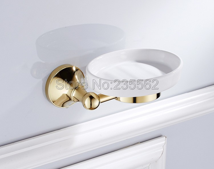 Golden brass base bathroom accessory soap dish holder wall - Wall mounted ceramic bathroom accessories ...