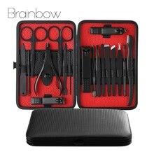 Brainbow profissional 18 unidades/pacote pro manicure do prego conjunto & kit para as mulheres rosto/pé/cuidados à mão clippers prego pedicure ferramentas conjunto