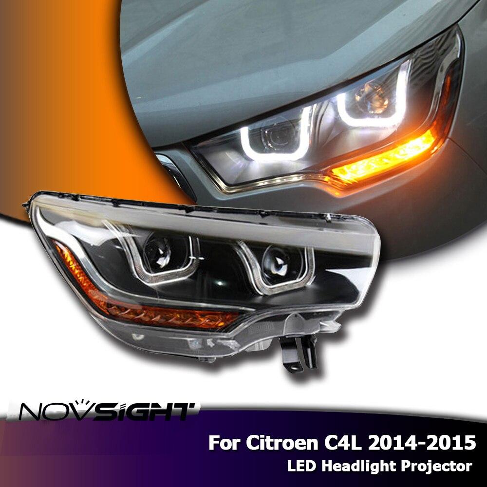 NOVSIGHT High Quality H7 Car LED Headlights Projector DRL Fog Lamp Light Turn Signal For Citroen C4L 2014 2015 baofeng uv b5 1 1 lcd dual band dual display walkie talkie w fm radio vox black