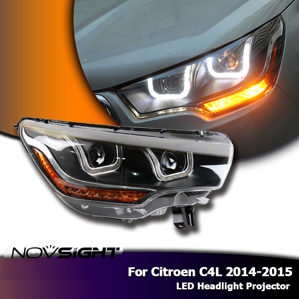 Novsight high quality h7 car led headlights projector drl fog lamp light turn signal for citroen