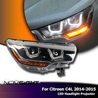 NOVSIGHT High Quality H7 Car LED Headlights Projector DRL Fog Lamp Light Turn Signal For Citroen C4L 2014 2015