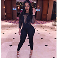 2016 Women Bodysuit Rompers Womens Jumpsuit Long Sleeve Sexy Hollow Out Mesh Full Length Bodycon Jumpsuits American Apparel