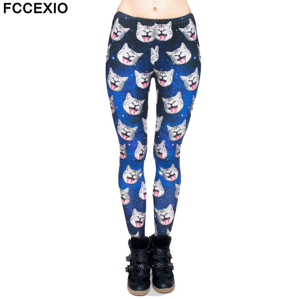 FCCEXIO 2019 Spring New Fashion Women   Leggings   Galaxy Gray Cat 3D Print Leggins Fitness   Legging   Sexy Slim High Waist Woman Pants