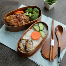 Useber Creative Home Wood Crafts Japanese Double Deck Lunch Box Western Restaurant Special Dessert Healthy  Insulation