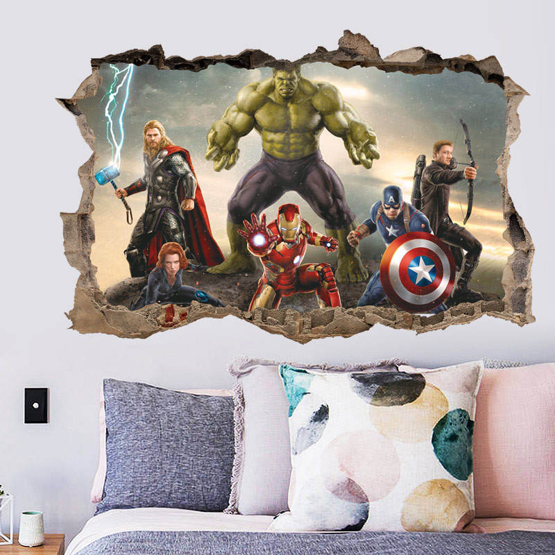 Cartoon Movie Avengers Wall Stickers For Kids Rooms Bedroom Wall Decals 3d Living Room Decoration Mural Boys Gift
