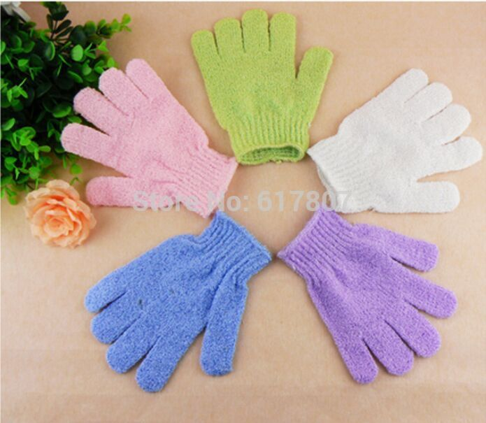 1 piece Creative Color Peeling Glove Scrubber Five Fingers Exfoliating Tan Removal Mitts Paddy Soft Fiber Massage  Cleaner