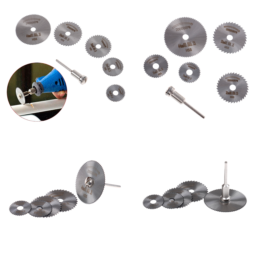6pc/set High Speed Steel HSS Carving Tool Saw Blade Circular Rotary Blade Wheel Discs Mandrel For Tools Wood Cutting Saw