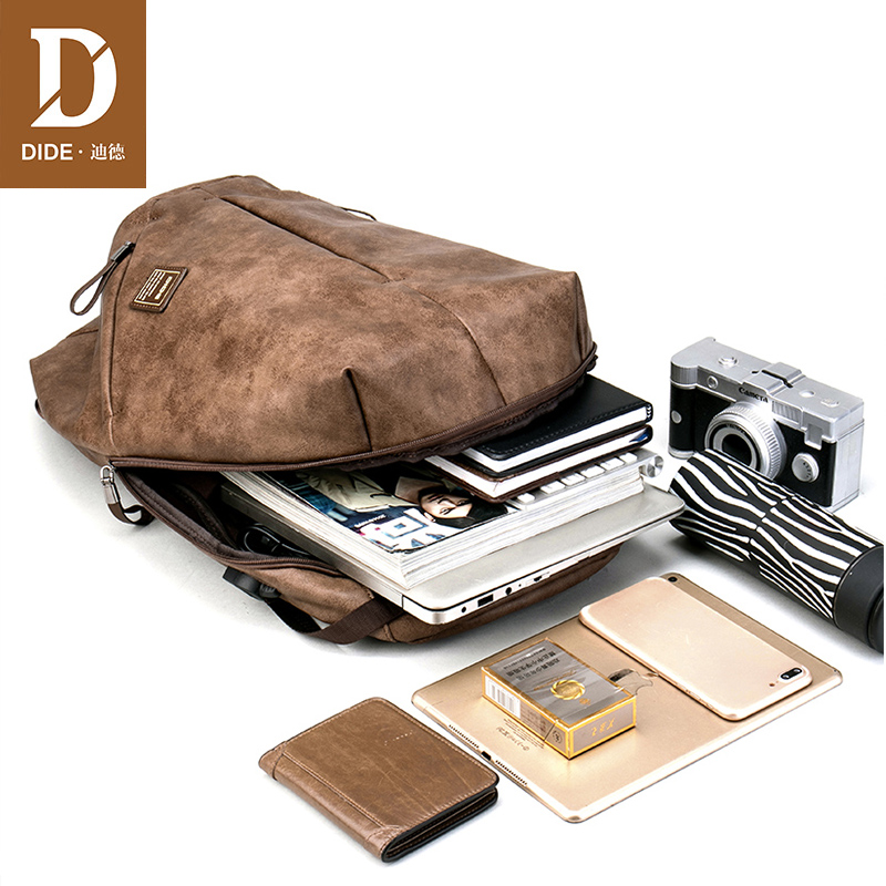 Marque DIDE haute qualité USB charge 15 pouces sacs à dos pour sac d'école mâle Mochila cuir voyage sac à dos pour ordinateur portable hommes - 4