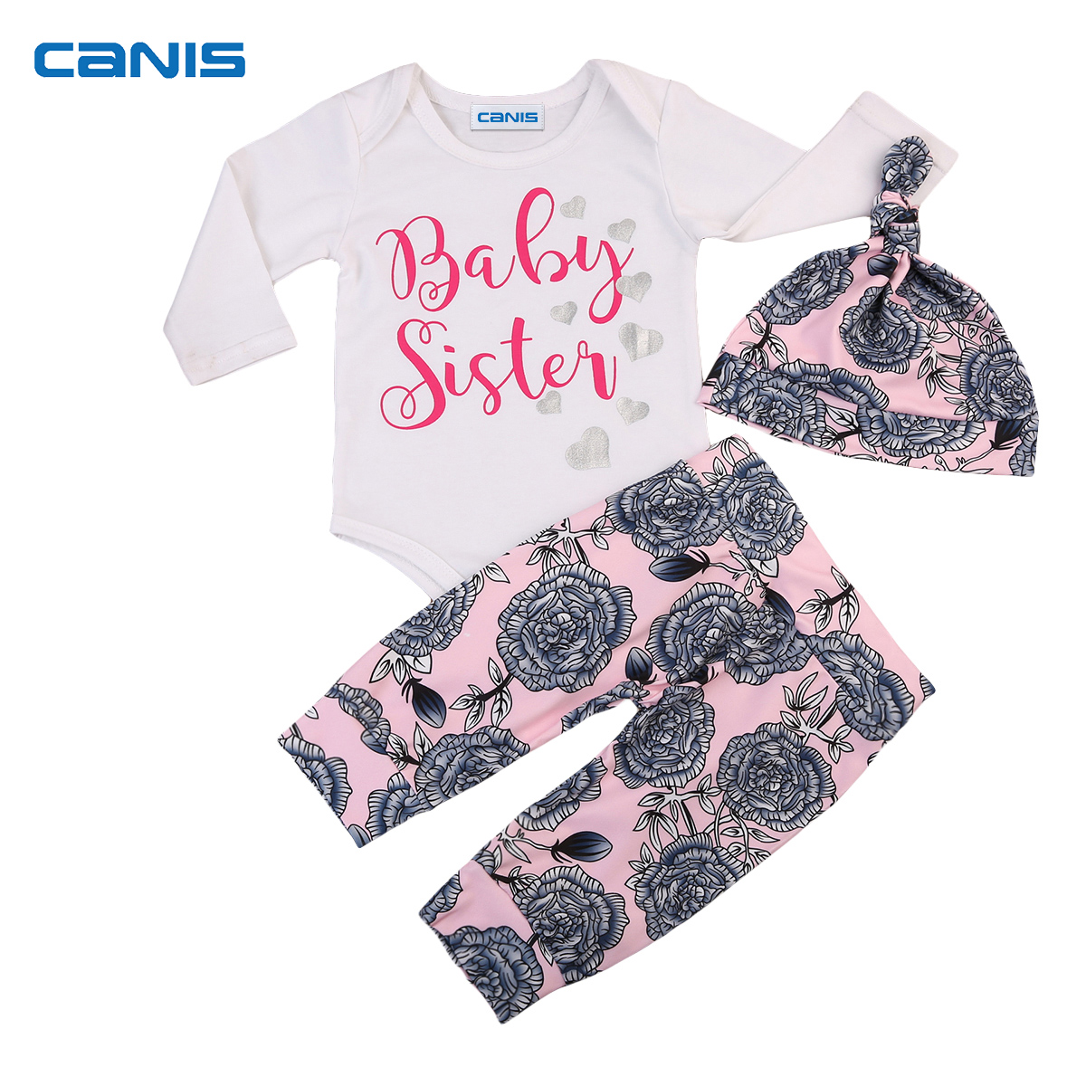 2017 New Brand Newborn Toddler Infant Baby Girls Long Sleeve Romper Floral Pants Hat 3pcs Outfits Clothes Set Casual Clothes fashion 2pcs set newborn baby girls jumpsuit toddler girls flower pattern outfit clothes romper bodysuit pants