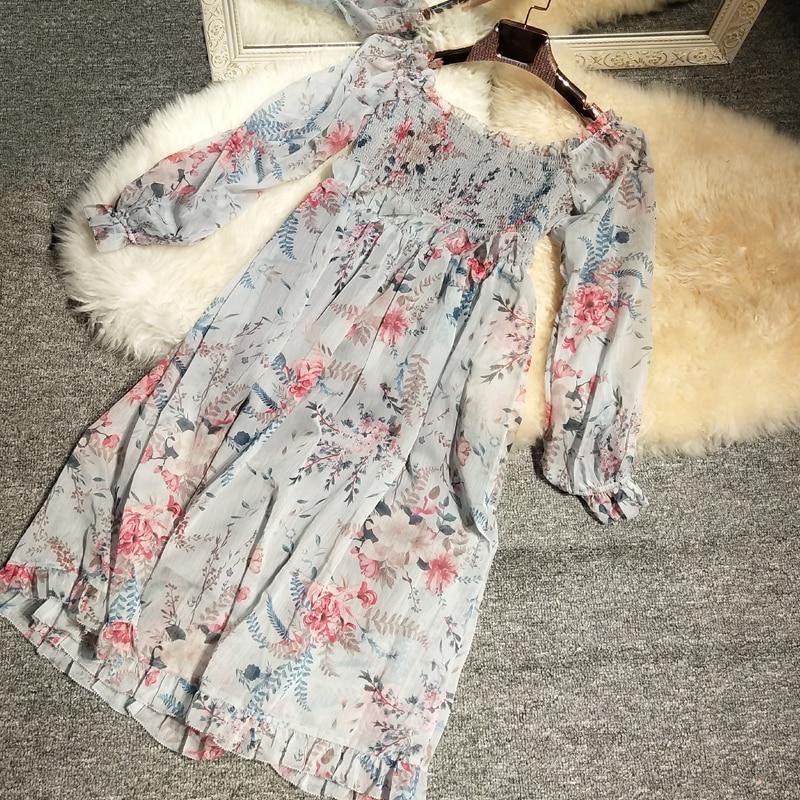 Nouveau palais bulle manchon cultiver la moralité montrer mince côté les timbres en mousseline de soie robe bord de mer vacances robes