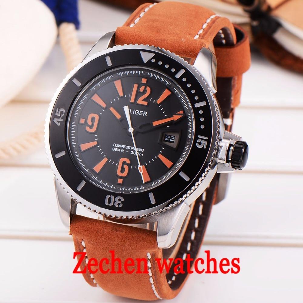 ca3aff4663c1f Bliger43mm Men's Watch Belt Waterproof Mechanical Watch Fashion Business  Calendar Automatic Mechanical Watch