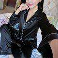 Женская мода Шелковый Атлас Ночные Рубашки Устанавливает Пары С Длинным Рукавом Пижамы Домашней Одежды #1358
