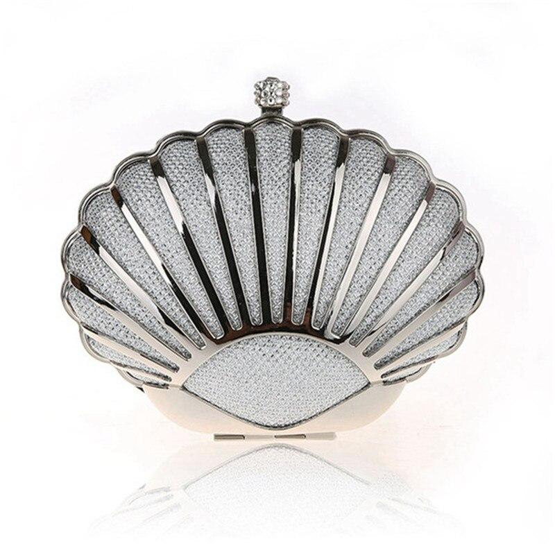 Forma de concha de las mujeres bolsos de noche de diamantes hebilla de metal cad