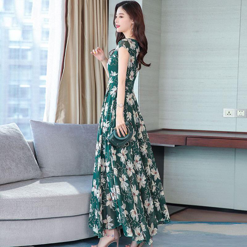 2019 New Summer Women Floral Print Chiffon Maxi Dress Female Square Collar Swing Dresses Lady Party Beach Draped Vestidos Y117 6