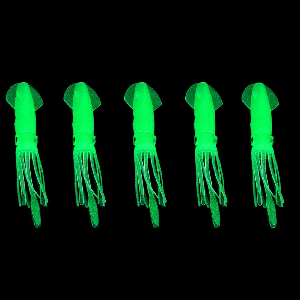 1940626c4c1 5 unids set 4.3 pulgadas resplandor luminoso Soft SQUID Octopus Faldas Pesca  señuelo cebos 10.5 cm flotante Pesca tackle