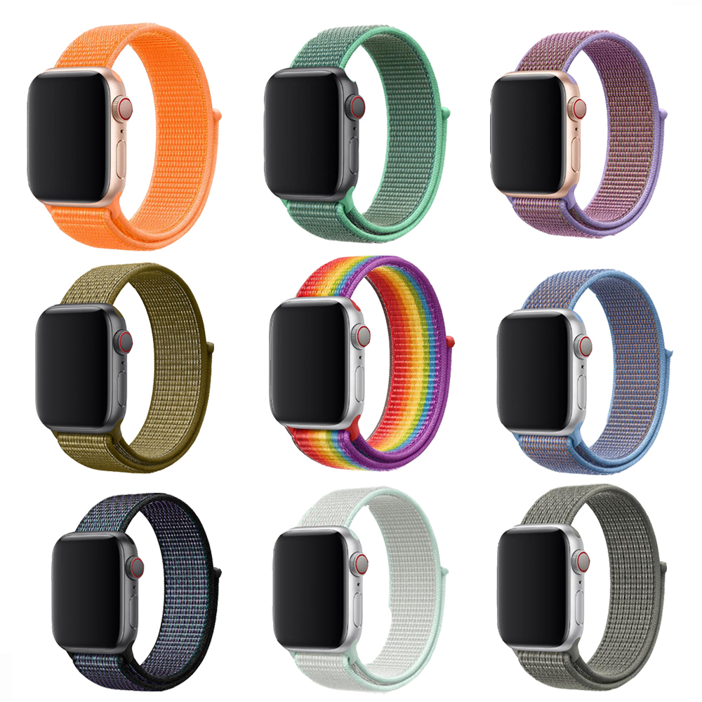 Big Sale Color Arrive Woven Nylon Sport Loop Band For Apple Watch Series 4 44mm 40mm Watch Strap For Iwatch 42mm 38mm 3 2 1 Band(China)