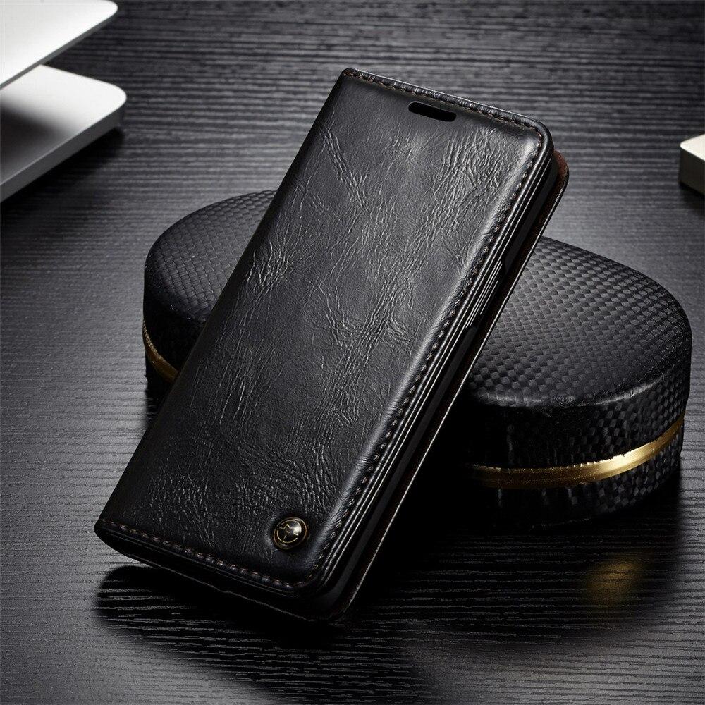 De Lujo fundas de cuero del teléfono para Samsung Galaxy S9 S9Plus caso para Samsung S 9 S8 más S7 S6 borde Note9 magnético Flip cartera