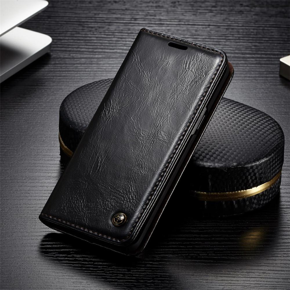 Di Cuoio di lusso Del Telefono Custodie per Samsung Galaxy S9 S9Plus per Samsung S 9 S8 Più S7 S6 Bordo Note9 magnetica di Vibrazione Del Raccoglitore Della Copertura