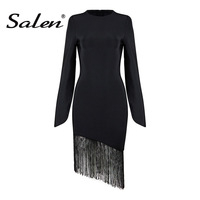 2017 New Women Fashion Solid Black Bandage Dress Long Split Sleeve Tassel Winter Dress