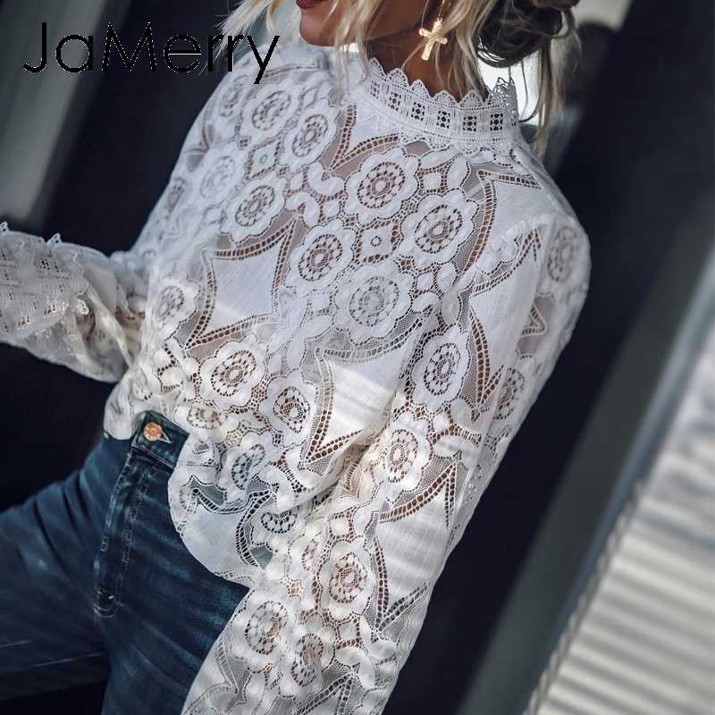 JaMerry, винтажная, сексуальная, белая, кружевная, открытая, женская блузка, рубашка, вышивка, рукав-фонарик, блузка, летняя, прозрачная, Женский Топ