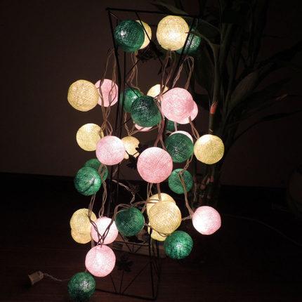 Christmas Lights Luminarias Home Decoration Garland LED String Fairy Lights AC110V/220V 20pcs Cotton Bulb Ball Indoor Decoration