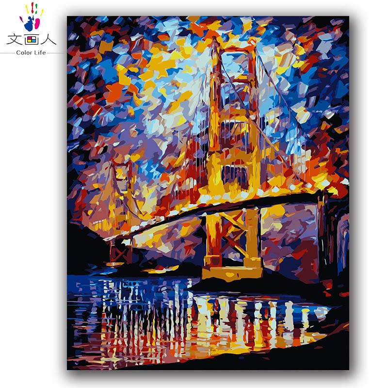 Railway bridge and river Colorful gorgeous Night scene digital painting by numbers Knife painting Background wall decoration