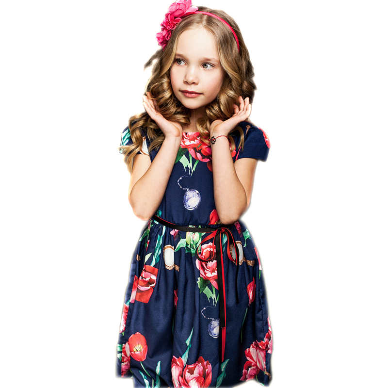 BRWCF 2018 Baby Girls Summer Dress New Brand Kids Print Party Dress for Wedding Flower Girl Dress ToddlerChildren Clothes  2-8Y brwcf new 2018 autumn