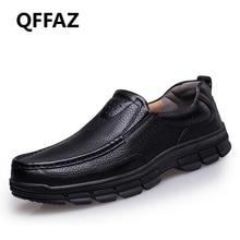 QFFAZ New Plus Size Men Shoes Black Cow Leather Mocassins Men Loafers Slip On Loafers Formal Shoes Men Oxford Dress Shoes
