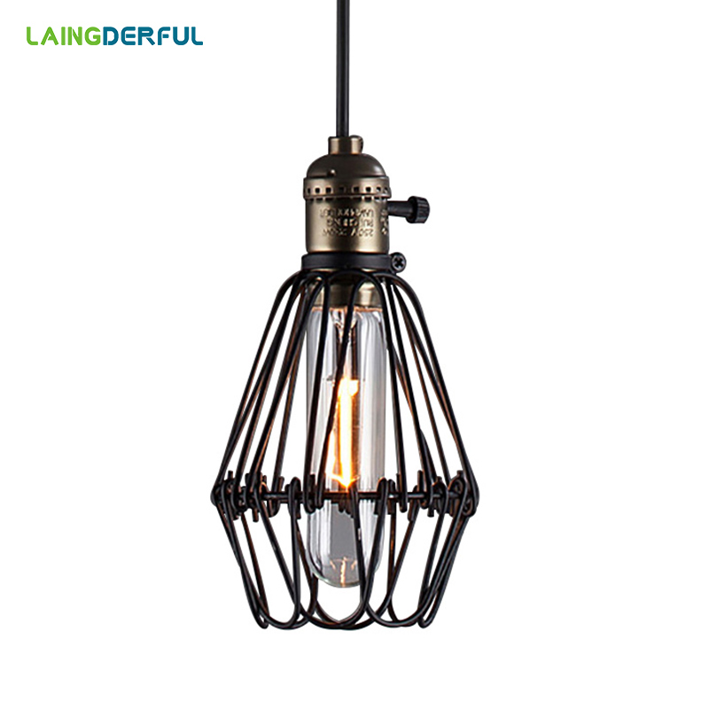 Industrial Decor Iron Pendant Lights E27 Black Vintage Loft Hanglamp Retro Metal Wire Cage Hanging Lamp For Bar Restaurant Cafe