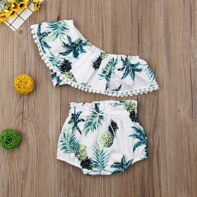 Toddler Baby Girls Clothes Pineapple Print Crop Tops+Briefs 2pcs Outfit Set Clothes Summer