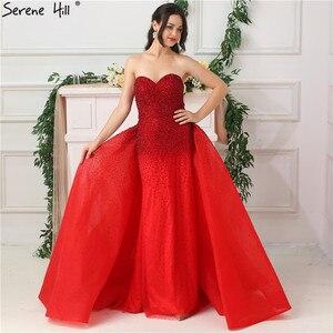 Image 3 - Dubaj Design Red całkowicie wyłożone kryształkami suknie wieczorowe Off Shoulder seksowna luksusowa suknia wieczorowa rozkloszowana na dole Serene Hill LA6637