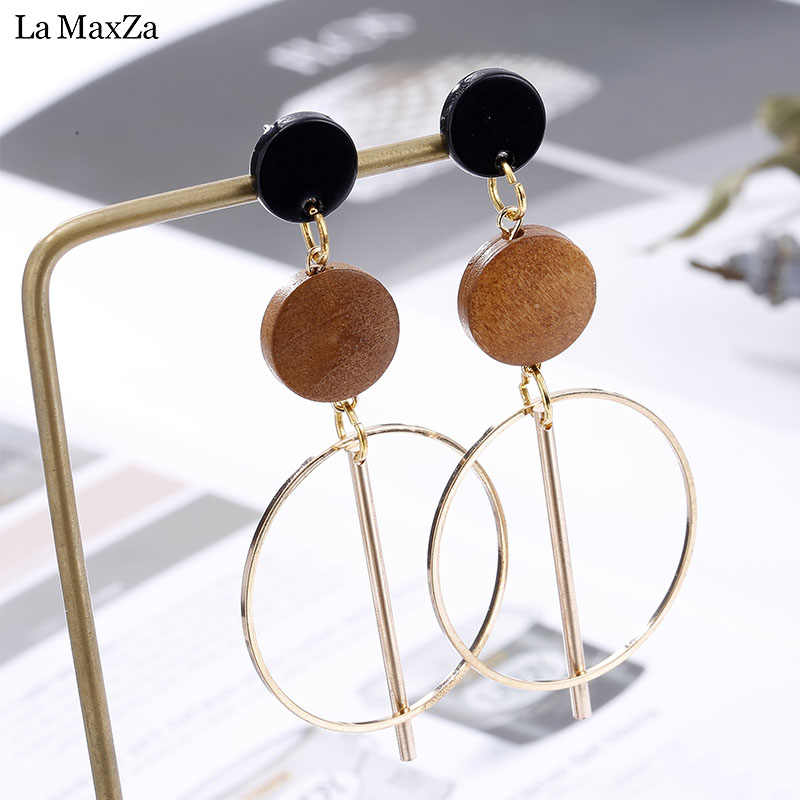 Natural Wood Earring Wooden Earrings For Women Exaggerated Statement Geometric Long Stud Earrings Girls Fashion Jewelry 2018