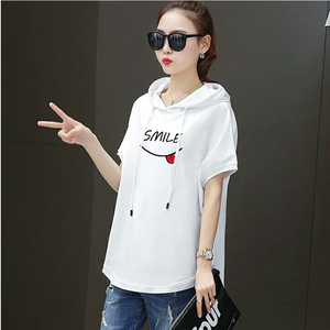 Image 3 - T shirt female 2020 new  hooded loose summer casual red white  short sleeved large size  women fashion printing t shirt  Cotton