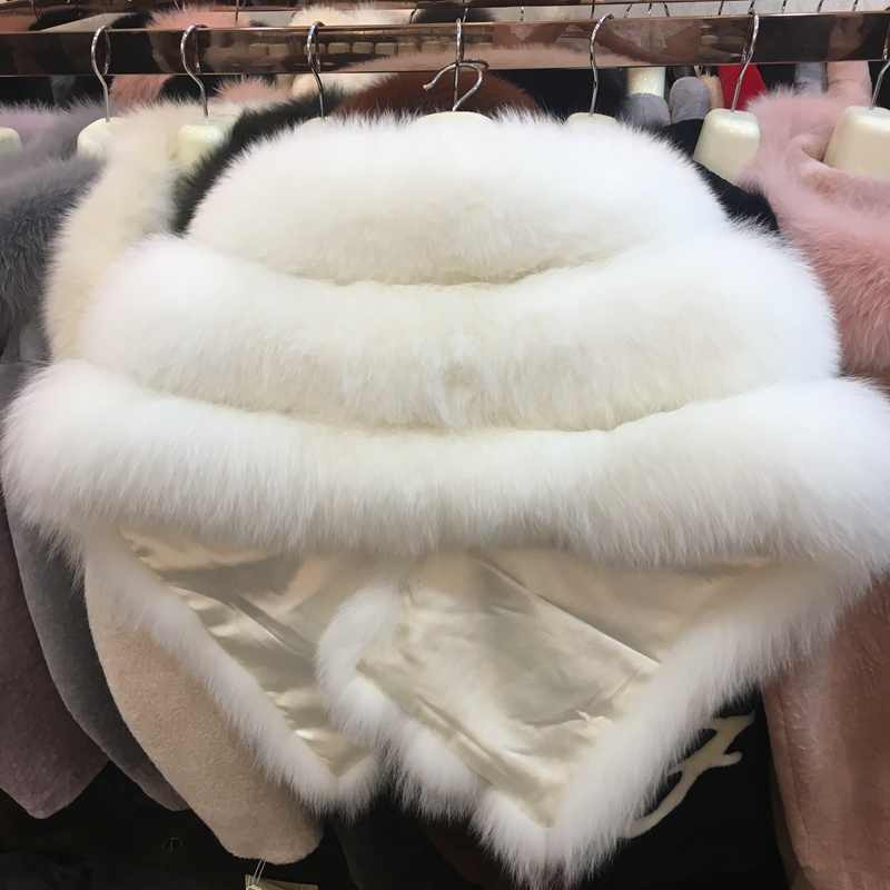 luxury brand genuine fox fur shawl for women 100% real fox fur white capes  and wraps for wedding Bride winter outwear pashmina