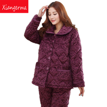 Xiangerma Quilted Pajamas Female Autumn Winter Folder Cotton Thick Velvet Tracksuit Coral Velvet Suit Jacket Elderly