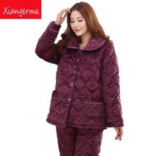 Xiangerma Quilted Pajamas Female Autumn Winter Folder Cotton Thick Velvet Tracksuit Coral Velvet Suit Jacket Elderly