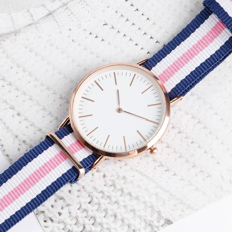 Fashion Pink Stripe Watches Nylon Canvas Strap Men Wrist Watch Casual Analog Wristwatches 2016 Popular Women Quartz-watch