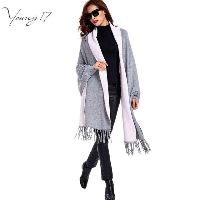 Young17 2016 осень женской моды кисточкой кардиган черный все матч серый теплый тонкий с длинным рукавом открыть мыс трикотажные кардиганы женский