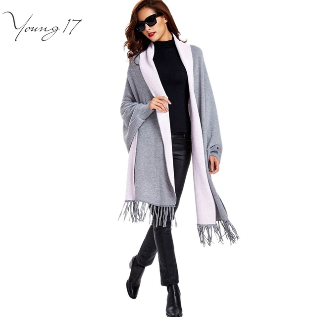 Young17 2016 outono moda feminina de todos os jogo de borla cardigan preto cinza quente magro manga comprida abrir capa de malha cardigans feminino