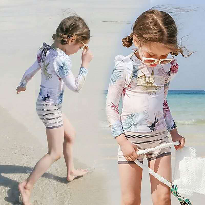 Sexy Bikini Kids Swimming Suit Junior Girls Swimsuit Baby Clothes Swimwear 2018 New Printing Children Three Piece Summer Print