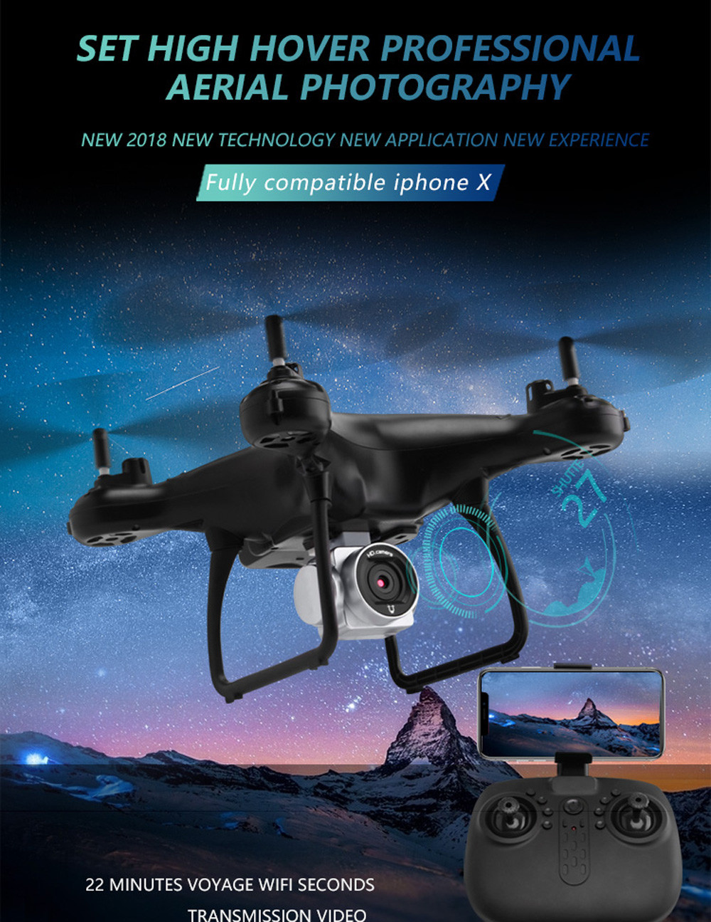 Utoghter Wide Angle Lens 720P HD Camera Quadcopter RC Drone WiFi FPV 1600Mah Battery Live RC Helicopter Hover drones com MAY 01 360 degree 170 wide angle lens sh5hd drones with camera hd quadcopter rc drone wifi fpv helicopter hover flip live video photo