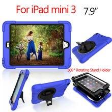 "For iPad mini3 Heavy Responsibility Pill Case Funda PC Silicon 7.9"" Circumstances Cowl for Apple iPad mini three Protecting 360 Stand Hand Holder"
