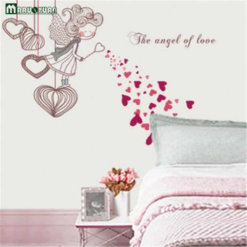 Romantic Cute The Angel Of Love Red Diy Removable Wall Stickers Kids Room Home Decor Mural Decal Happy